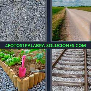 4 Fotos 1 Palabra - seis-letras camino piedras. Jardinera. Railes tren.