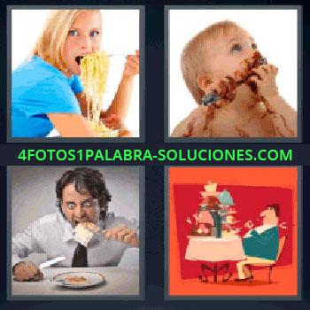 4 Fotos 1 Palabra - ocho-letras espaguetis. Niño comiendo chocolate. Hombre comiendo con cara de loco. Dibujo de señor con la mesa llena de comida. Hambre. Glotones. Devorar alimentos.