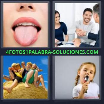 4 Fotos 1 Palabra - cinco-letras lengua, Dandose la mano, Niños sobre alpacas de paja, Niña con cuchara