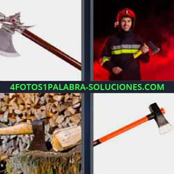 4 Fotos 1 Palabra - cinco-letras bombero hacha. Cortando leña madera. Hacha.