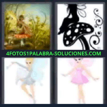 4 Fotos 1 Palabra - cuatro-letras hadas, Hada sobre seta, silueta de un hada.