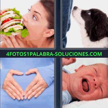 4 Fotos 1 Palabra - mujer comiendo hamburguesa gigante. Perro blanco y negro. Manos en la barriga. Bebe llorando.