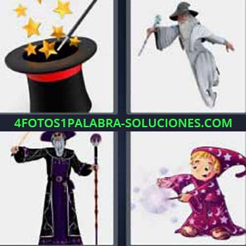 4 Fotos 1 Palabra - cinco-letras magia. Sombrero de copa y varita mágica. Imágenes de magos. Dibujo niño con poderes mágicos.