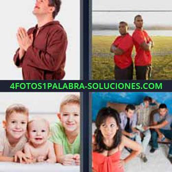 4 Fotos 1 Palabra - cuatro-letras hombre rezando. Dos hombres con camiseta roja. Tres niños de diferentes edades. Chica de rojo y amigos detrás.