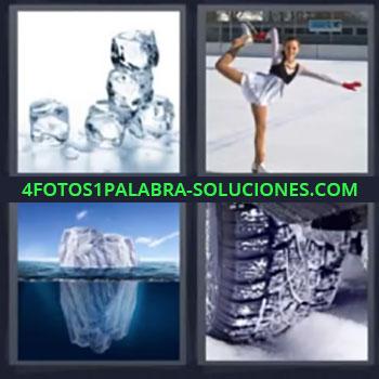 4 Fotos 1 Palabra - cinco-letras cubitos, Patinaje artístico, Iceberg, Rueda de coche sobre nieve