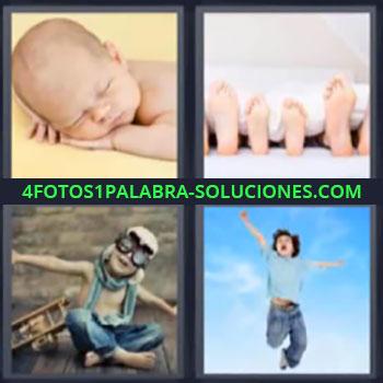 4 Fotos 1 Palabra - niño saltando, bebé dormido, pies de toda la familia, niño jugando a aviador