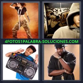 4 Fotos 1 Palabra - siete-letras hombre con radio, Mujer bailando, Hombre con capucha en la cabeza, Hombre con medallon y gorra hacia atras