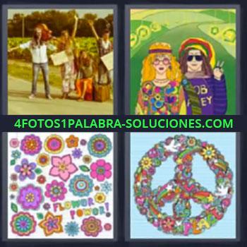 4 Fotos 1 Palabra - seis-letras 60, Años 60, Dibujos de flores, Corona de flores con simbolo
