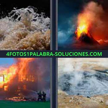 4 Fotos 1 Palabra - volcán en erupción activo. Aguas bravas. Volcán activo en erupción. Incendio. Aguas termales.