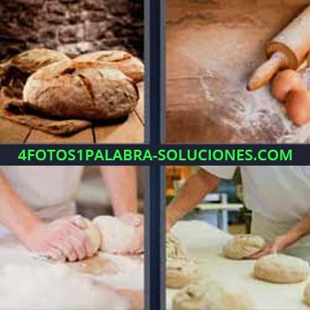 4 Fotos 1 Palabra - cuatro-letras harina huevo. Hogaza de pan. Huevos y rodillo. Amasando harina. Haciendo pan.