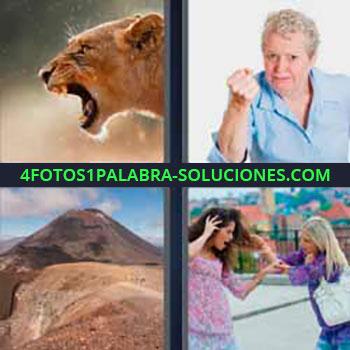 4 Fotos 1 Palabra - cuatro-letras leona boca abierta, tigre o felino. Mujer camisa azul con puño cerrado. Montañas. Mujer tirando del pelo a otra.