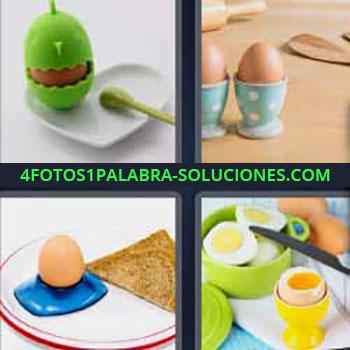 4 Fotos 1 Palabra - seis-letras huevo cocido o huevo duro. Recipientes de colores para huevos. Huevos.