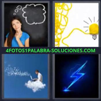 4 Fotos 1 Palabra - rayo, mujer pensando pizarra, foco o bombilla amarilla, hombre encima de nube con computadora
