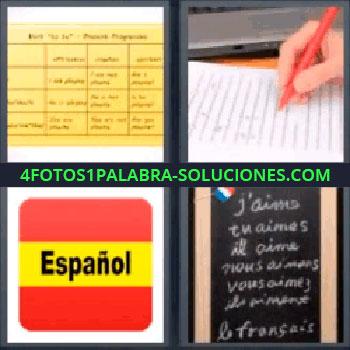 4 Fotos 1 Palabra - seis-letras bandera España con la palabra español, Hoja amarilla con cuadrantes y anotaciones, Mano escribiendo, Pizarra con palabras en francés.