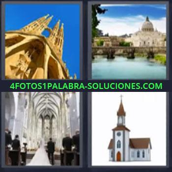 4 Fotos 1 Palabra - cinco-letras catedral boda, Palacio, Ceremonia en boda, Parroquia.