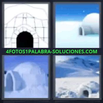 4 Fotos 1 Palabra - cuatro-letras casa hielo, 1 dibujo y 3 Fotos de Iglús.