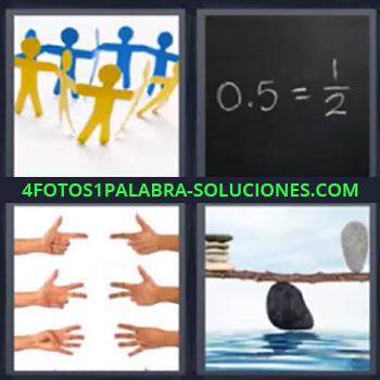4 Fotos 1 Palabra - cinco-letras manos, Figuras personas, Operaciones en pizarra, Balanza