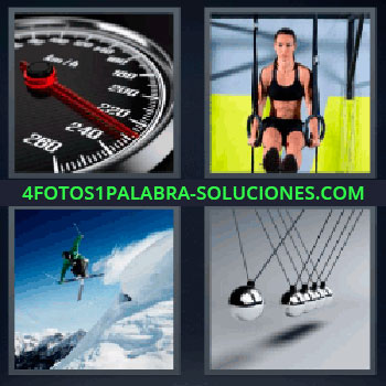 4 Fotos 1 Palabra - seis-letras cronometro. Velocímetro o cuentakilómetros. Mujer haciendo deporte. Esquiador saltando. Juego de bolas metálicas.