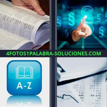 4 Fotos 1 Palabra - seis-letras leyendo libro. Pulsando pantalla táctil. A – Z. Hojas con datos de números