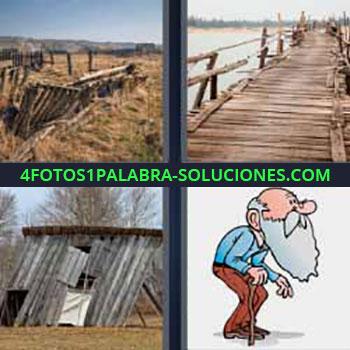 4 Fotos 1 Palabra - seis-letras casa en ruinas de madera o establo en el campo. Muelle o embarcadero . Caseta casi derruida. Dibujo Sr. mayor o tercera edad con barba.