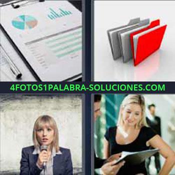 4 Fotos 1 Palabra - seis-letras gráficos papeles. Carpetas o folders gris y rojo. Mujer con micrófono. Señorita trabajo oficina.