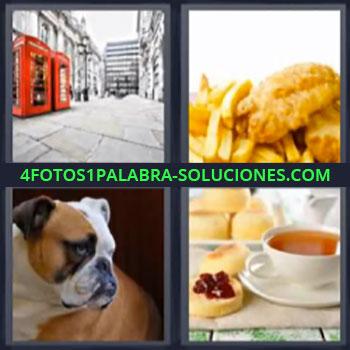 4 Fotos 1 Palabra - seis-letras cabinas rojas perro, Pollo y papas fritas, Te y tostada con mantequilla y mermelada, Desayuno.