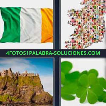 4 Fotos 1 Palabra - siete-letras bandera verde blanca amarilla. Mapa. Castillo o ruinas en lo alto de una montaña. Hojas verdes o trébol.