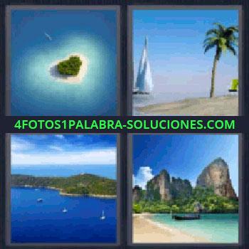 4 Fotos 1 Palabra - seis-letras mar, Islote con forma de corazón, Playa con palmera, Playa con montañas, Oceano, Mar.