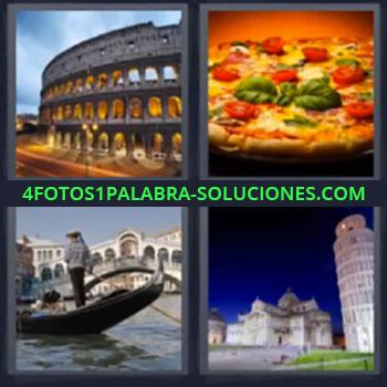 4 Fotos 1 Palabra - siete-letras coliseo pizza, Gondola, Torre de Pisa
