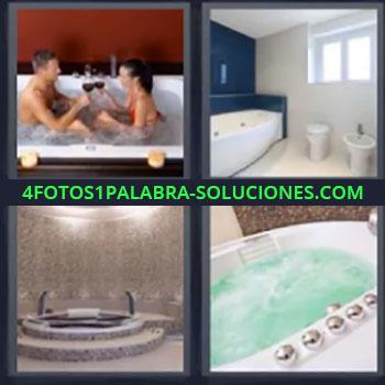 4 Fotos 1 Palabra - cinco-letras jacuzzi, Bañera o tina de hidromasajes, Piscina, Alberca