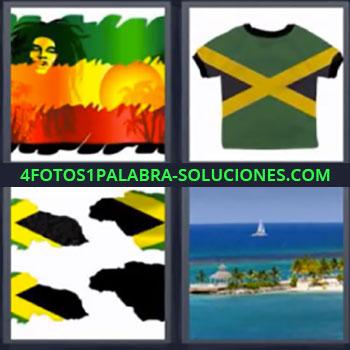 4 Fotos 1 Palabra - seis-letras bandera verde amarilla roja, Dibujo de cara con rastas colores verde amarillo y rojo, Camiseta verde con rayas amarillas, Playa paradisiaca.