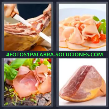 4 Fotos 1 Palabra - siete-letras carne, Fiambre, Companaje