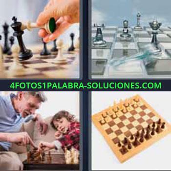 4 Fotos 1 Palabra - ocho-letras fichas de ajedrez. Señor y niño jugando al ajedrez. Tablero ajedrez.