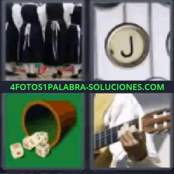 4 Fotos 1 Palabra - siete-letras dados guitarra, Señoras de negro y blanco, Tecla Jota de máquina de escribir.