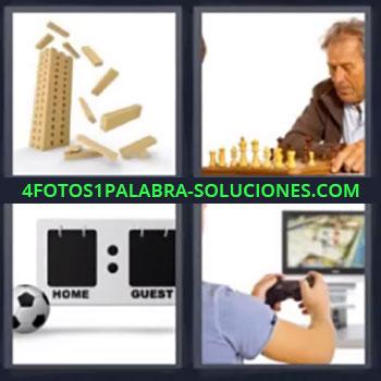 4 Fotos 1 Palabra - cuatro-letras ajedrez, Torre de juguete cayendo, Pelota y contador, Videojuegos.