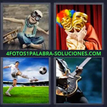 4 Fotos 1 Palabra - mascaras, Niño aviador, Futbol, Tocando guitarra, Guitarrista
