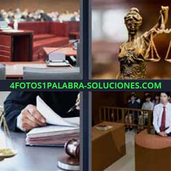4 Fotos 1 Palabra - ocho-letras estatua con balanza. Sala. Juez. Señor de testigo en un juzgado.