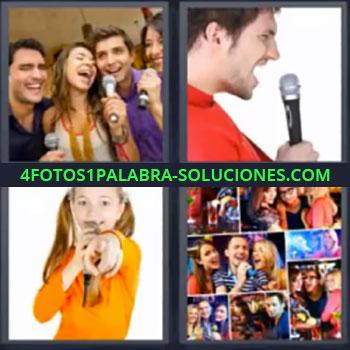 4 Fotos 1 Palabra - siete-letras cantando, Jóvenes cantando, Hombre con micrófono, Niña cantando, Fotos de personas celebrando.