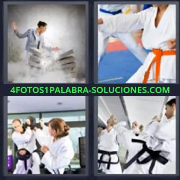 4 Fotos 1 Palabra - siete-letras artes marciales. Mujer dando patada a bloques. Cinturon naranja. Lucha.