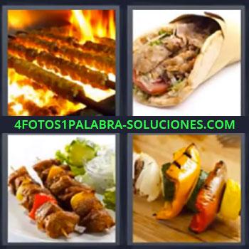 4 Fotos 1 Palabra - siete-letras comida, Carne, Pinchos, Carne asada