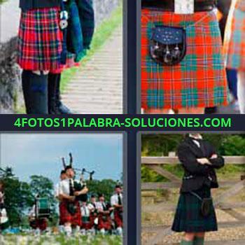 4 Fotos 1 Palabra - ocho-letras falda roja a cuadros. Falda con bolso. Hombres tocando la gaita. Falda escocesa.