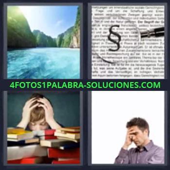 4 Fotos 1 Palabra - cinco-letras lago niño libros. Lupa letras. Hombre pensando.