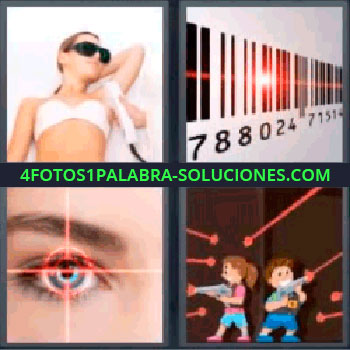 4 Fotos 1 Palabra - seis-letras codigo de barras, Mujer depilándose, Ojo azul en oculista u oftalmólogo, Dibujo niños disparando con pistolas de rayos.