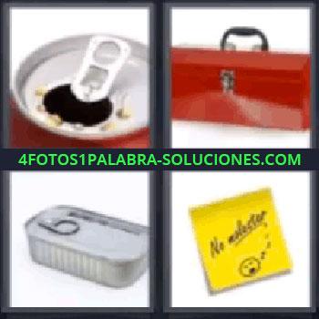 4 Fotos 1 Palabra - seis-letras coca cola, Bote de bebida abierto, Maletín metálico, Lata de conserva cerrada, Nota con mensaje.