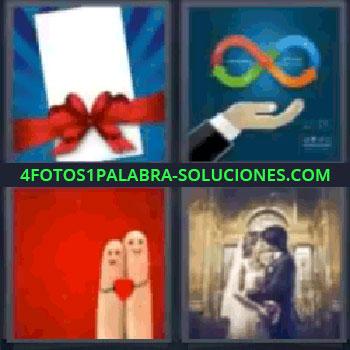 4 Fotos 1 Palabra - cinco-letras lazo rojo 4 letras, Sobre con lazo, Gráfico de colores sobre una mano, Dos dedos con caritas y corazón, Novios besándose en su boda.