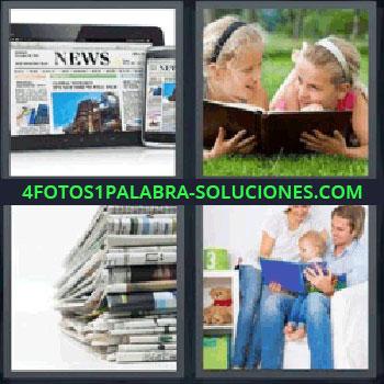 4 Fotos 1 Palabra - periodicos. Tablet y teléfono con noticias. Chicas en parque leyendo. Familia con libro.