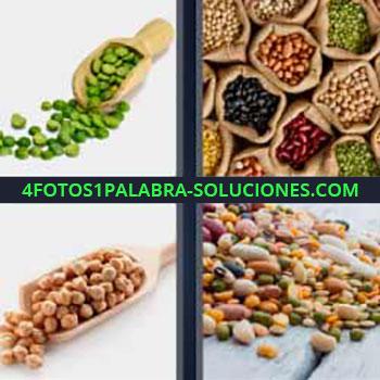 4 Fotos 1 Palabra - semillas granos. Semillas de guisantes. Bolsas con diferentes tipos de granos. Garbanzos. Alubias.