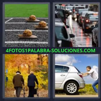 4 Fotos 1 Palabra - siete-letras caracoles, Atasco coches, Ancianos caminando, Empujando coche