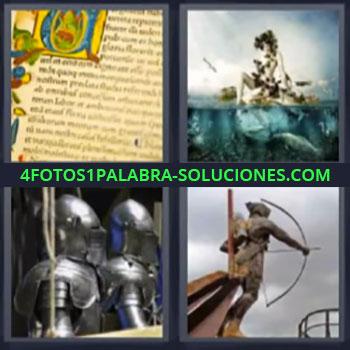 4 Fotos 1 Palabra - seis-letras armadura arquero. Escrito antiguo. Guerreros con armaduras. Estatua de arquero