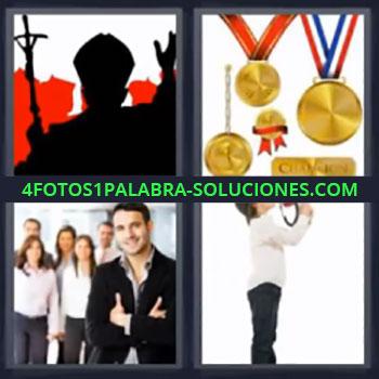 4 Fotos 1 Palabra - niño megáfono, Representante religioso, Medallas, Equipo de trabajo, Cura o reverendo o cardenal, 4 fotos 1 palabra